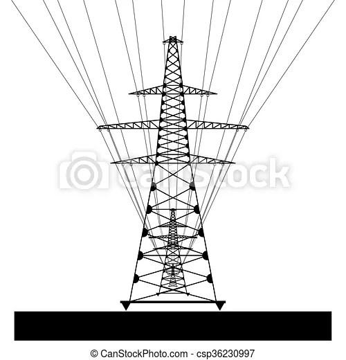 Power line. vector eps10. Power transmission line. vector