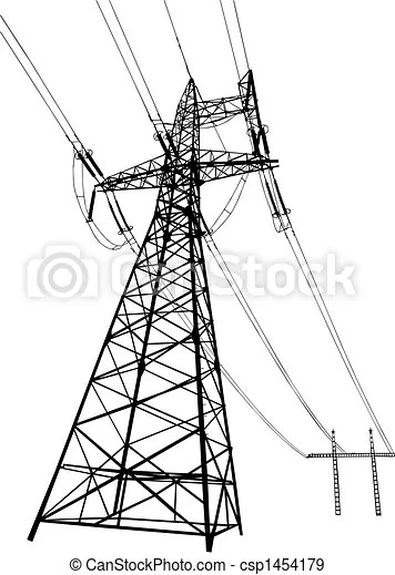 Power lines and pylons. Vector silhouette of power lines