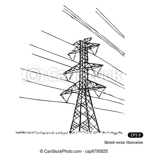 Power lines. hand drawn vector isolated on white.