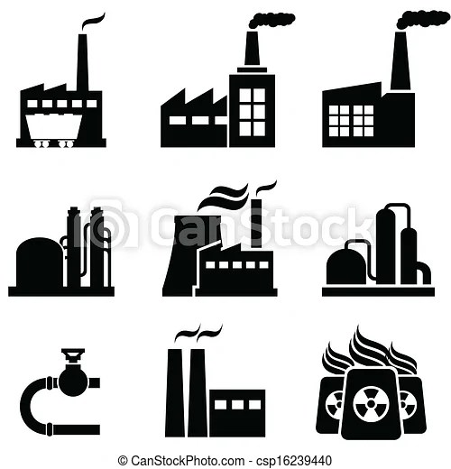 Power plants, factories and industrial buildings. Power