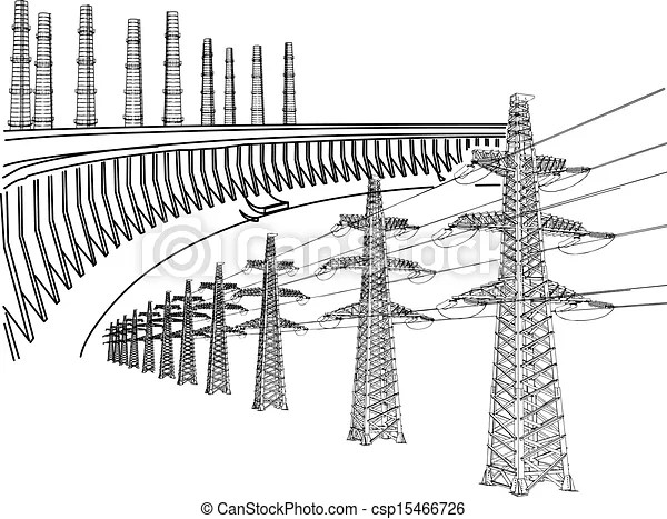 Power transmission line. dnieper hydro power plant