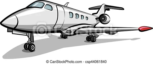 Illustration of private jet airplane parked in airport.