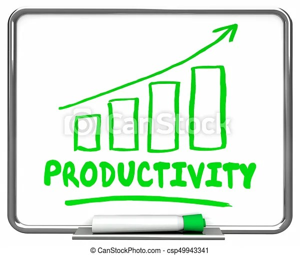 Productivity output efficiency rising increase chart 3d illustration.