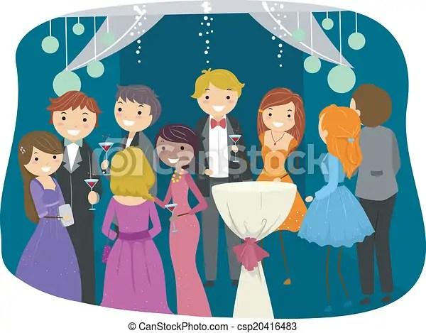 prom night . illustration featuring