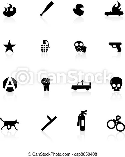 Protest icons isolated on white.