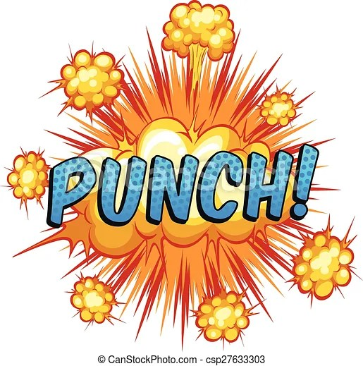 Punch. Word 'punch' with cloud explosion background.