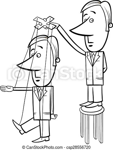 Puppet businessman cartoon illustration. Black and white