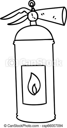 Quirky line drawing cartoon fire extinguisher. Line