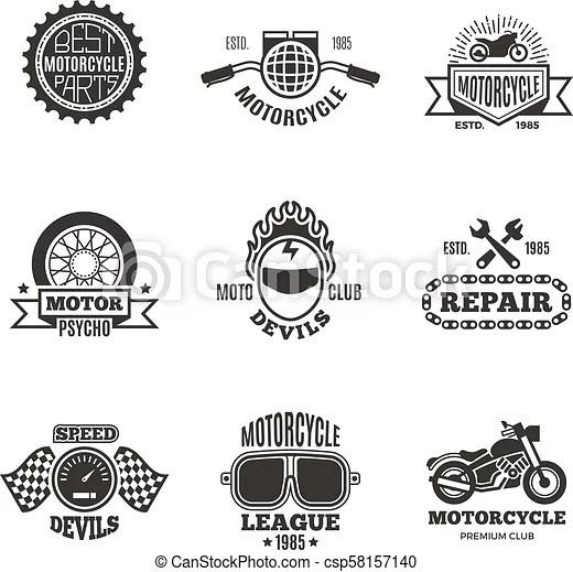 Race, motorcycle, motorbike repair vector retro labels