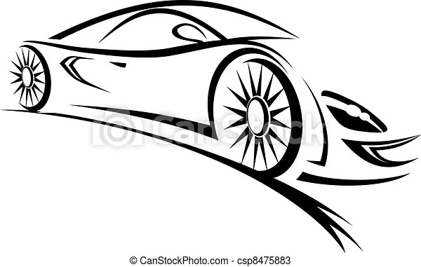Silhouette of racing car for sports design vectors