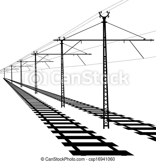 Railroad overhead lines. contact wire. vector illustration