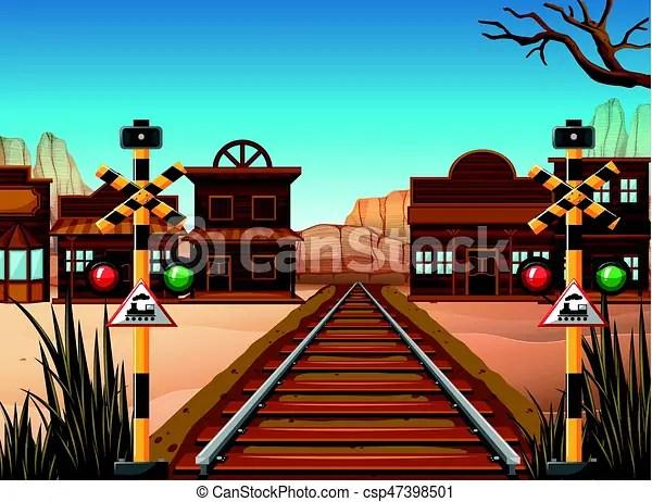 Railroad Scene In The Western Town Illustration