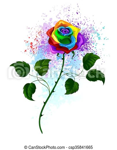 Rainbow Rose Drawing : rainbow, drawing, Rainbow, Curved, Green, Leaves, White, Background,, Shaded, Bright, Splashes, Paint., CanStock