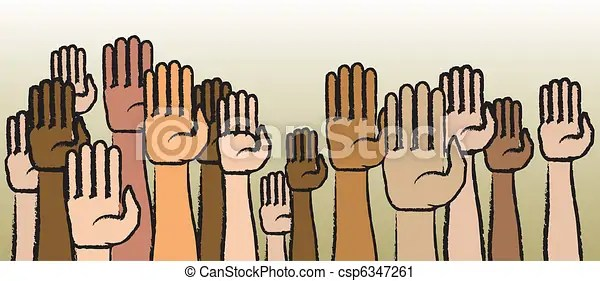 Raise your hands. Raised arms and hands in a variety of skin tones.