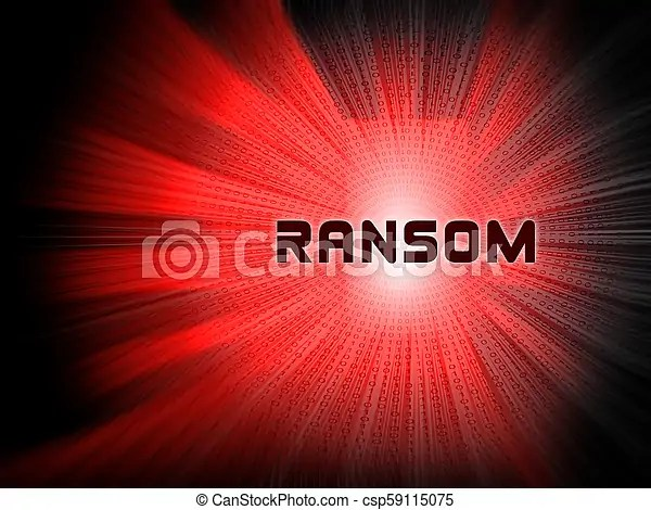 Ransom computer hacker data extortion 2d illustration shows ransomware used to attack computer data and blackmail.
