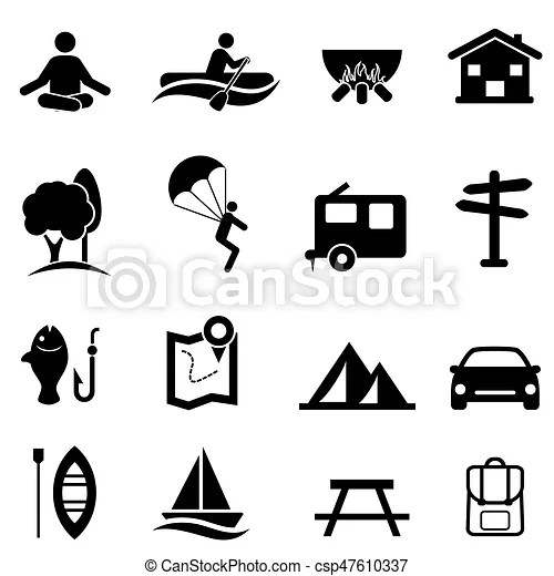Recreation, activities and leisure icons. Outdoor