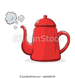 Red kettle boiling with steam Vector stock of red boiling hot water kettle with steam coming out CanStock