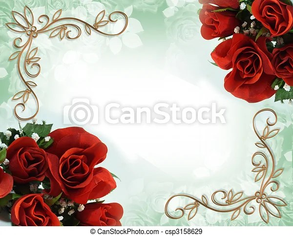 Red roses border wedding invitation Image and