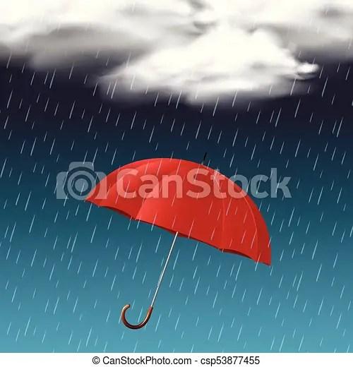 red umbrella on rainy