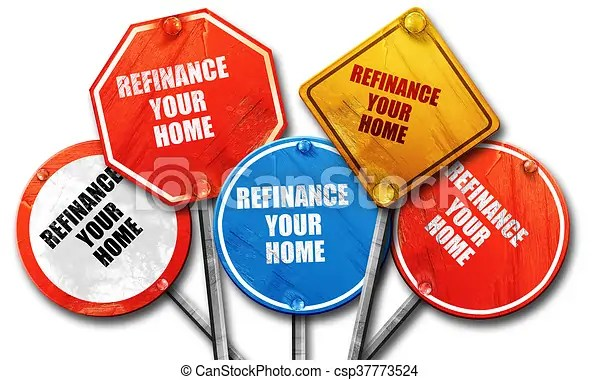 Refinance your home. 3d rendering. rough street sign collection.