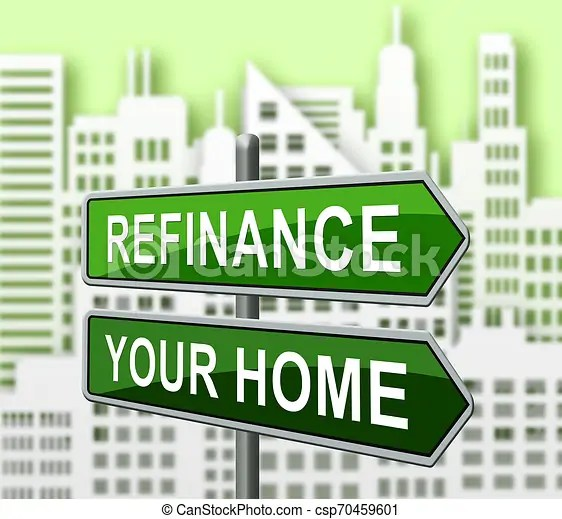 Refinance your home signs representing home equity line of credit - 3d illustration. Refinance your home signs representing home equity line of ...