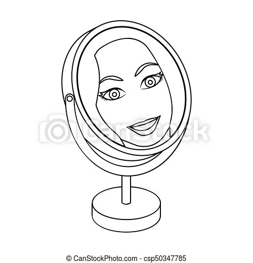Reflection in the table mirror. mirror for make-up single