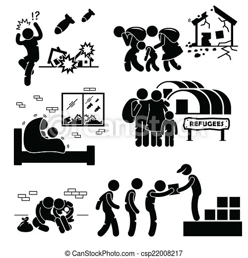 refugees evacuee war cliparts. A set of human pictogram
