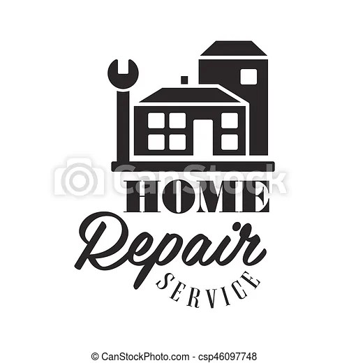 Repair and renovation service black and white sign design