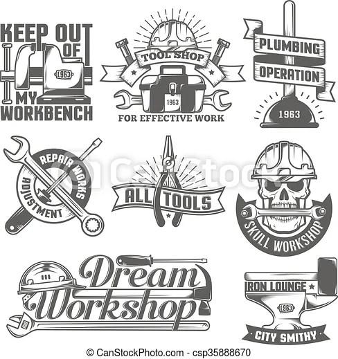 Repair workshop logos. Set of vintage logos to repair