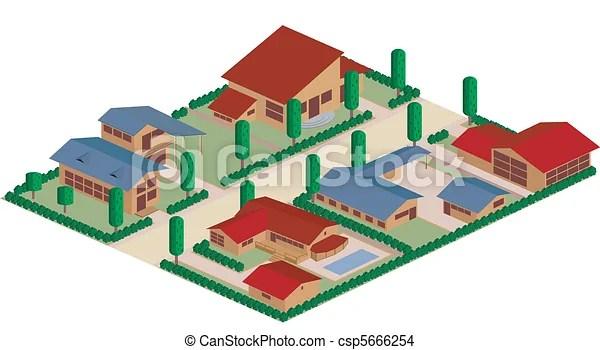 Residential district cartoon. Cartoon map of a residential district area.