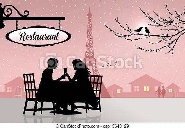 restaurant in paris. romantic dinner
