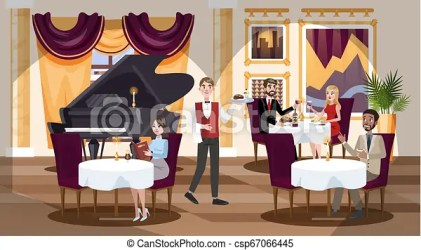 Restaurant interior in a hotel with people inside Expensive restaurant interior in a hotel with people inside visitors