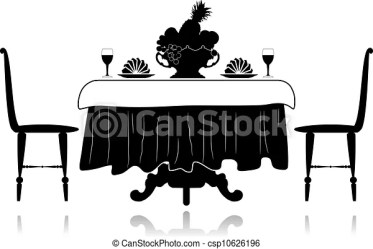 restaurant table silhouette vector fruit chairs clipart clip drawing drawings vase icon illustration eps tablecloth napkins glasses illustrations line canstockphoto
