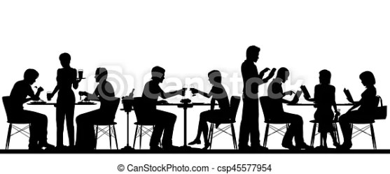 silhouette restaurant vector dining clip clipart busy illustration eating scene diner fotosearch cafe graphic separate objects figures royalty icon chair
