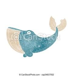 whale retro cartoon freehand