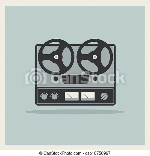 Retro open reel tape deck stereo recorder player vector.