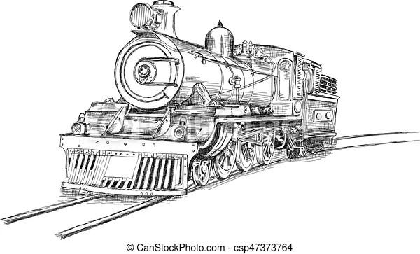 Retro stream locomotive train railway engine vector
