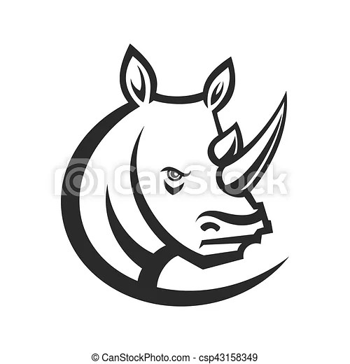 Rhinos head logo for sport club or team. animal mascot