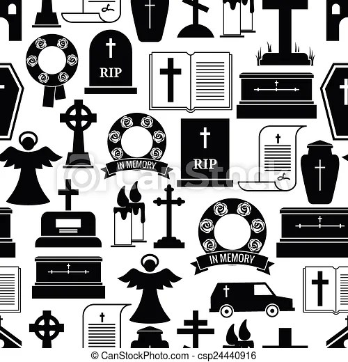 Rip And Funeral Background Pattern Black Silhouettes Of Vector Clip Art Search