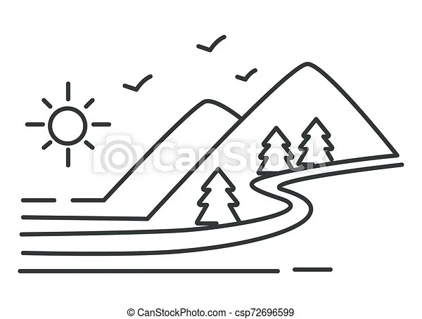 River and mountains landscape, forest and hills outline