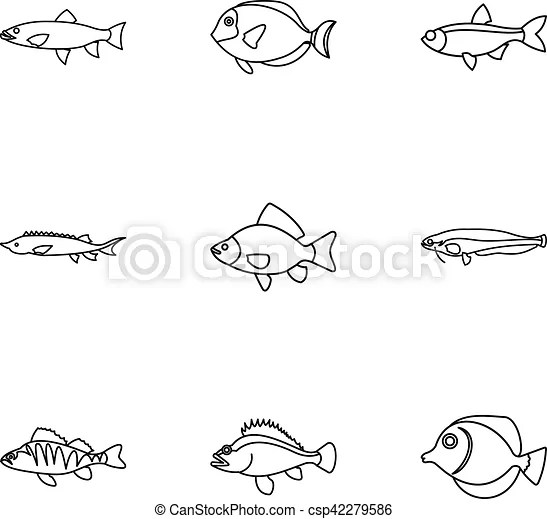 River fish icons set, outline style. River fish icons set