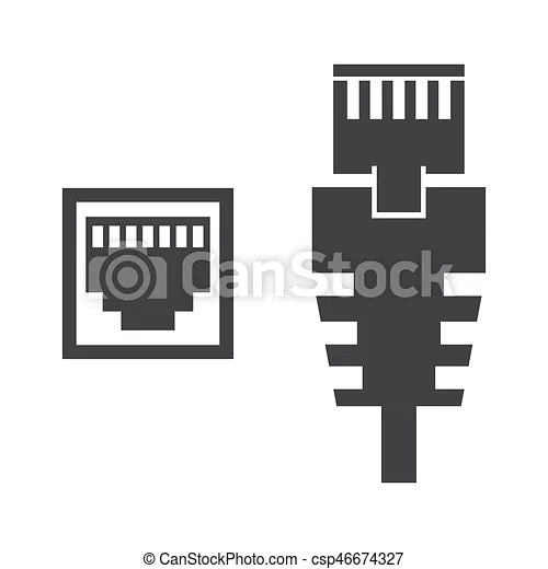 Rj45 cable illustration. Rj45 cable on the white