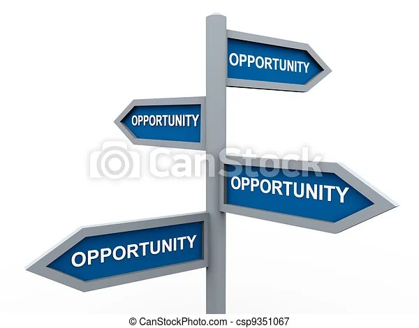 Road signs of opportunity. 3d road sign of words opportunity.