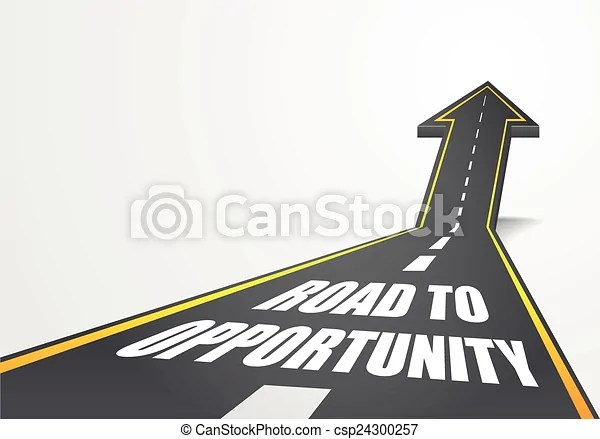 Detailed illustration of a highway road going up as an arrow with road to opportunity text, eps10 vector.