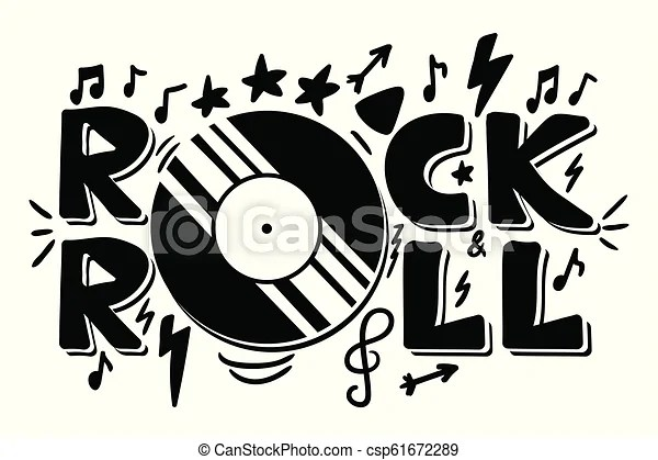 Rock and roll lettering for t-shirt, sticker, print