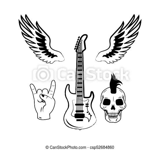 Rock n roll symbol electric guitar punk skull icon. Set of