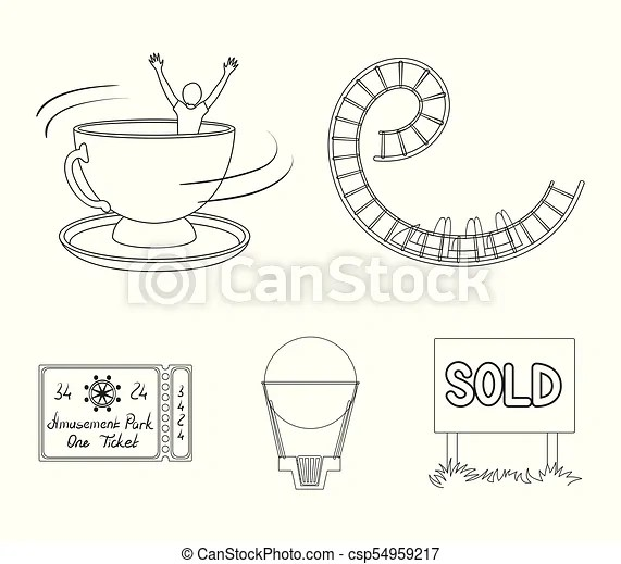 Roller coaster ride, balloon with basket, caruelle cup