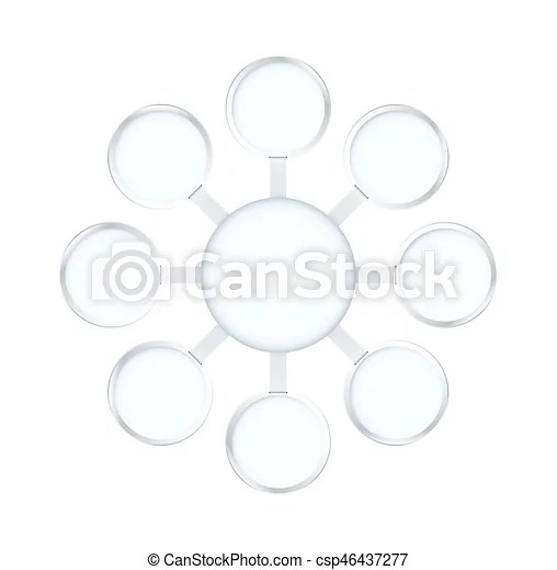 Round and circle star diagram frame template with silver