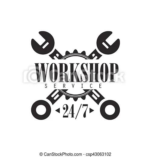 Round the clock car repair workshop black and white label