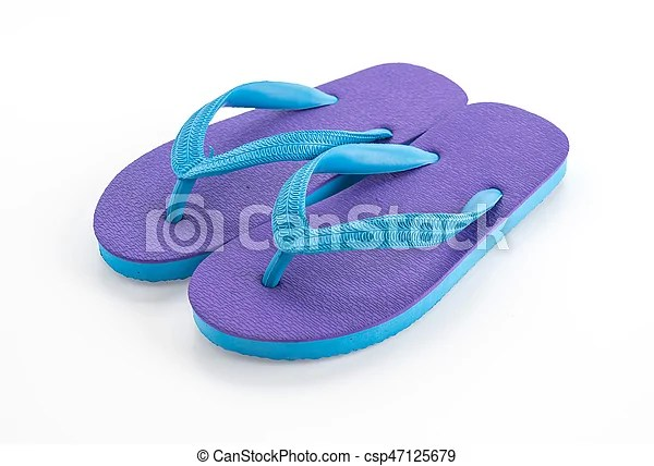 Rubber slippers on white background.
